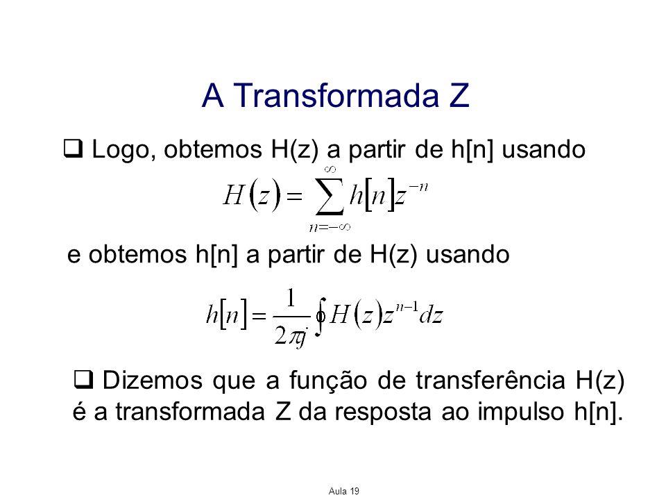 A Transformada Z Logo, obtemos H(z) a partir de h[n] usando